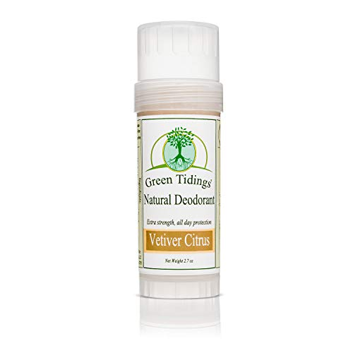 Green Tidings Natural Deodorant - Vetiver Citrus 2.7 oz. - Extra Strength, All Day Protection - Vegan - Cruelty-Free - Aluminum Free - Paraben Free - Non-Toxic - Solid Lotion Bar Tube