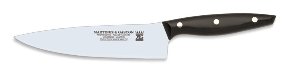 Martínez y Gascón Nova - Cuchillo de Cocinero, 20 cm, Color Negro