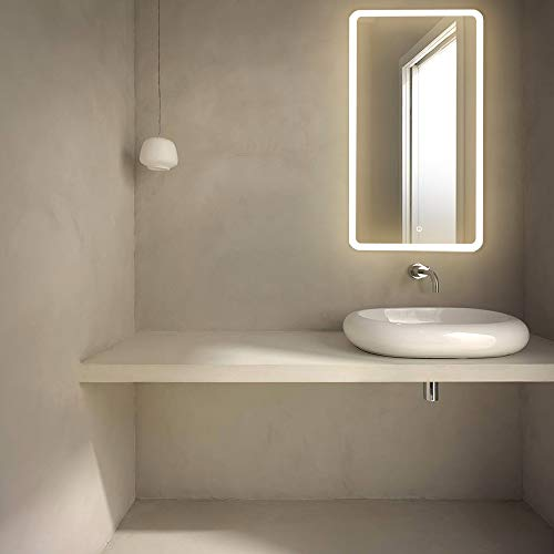 GetInLight LED Wall Mounted Lighted Vanity Mirror with Touch Sensor Dimmer Switch, 3000K(Soft White), ETL Listed, Damp Location Rated, IN-0405-4-20-36-3K