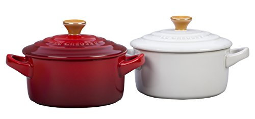 Le Creuset Stoneware Mini Round Cocottes with Gold Knob (Set of 2), 8 oz, Multicolor