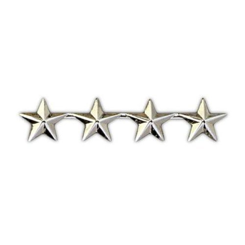 4 SILVER STAR ARMY MILITARY POLICE GENERAL COLLAR UNIFORM BRASS PINS INSIGNIA EMBLEM 1/2