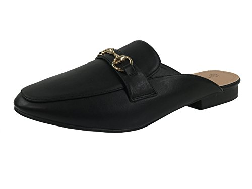 Paprika Womens Slip On Mocassini Backless Punta Chiusa Tacco Basso Schiena Aperta Nero Mule New