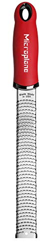Microplane 46120 Premium Zester Grater-Made in USA Stainless Steel Blade-for zesting Citrus and Grating Cheese-Soft Touch Handle-Red (Premium Outlet In La)