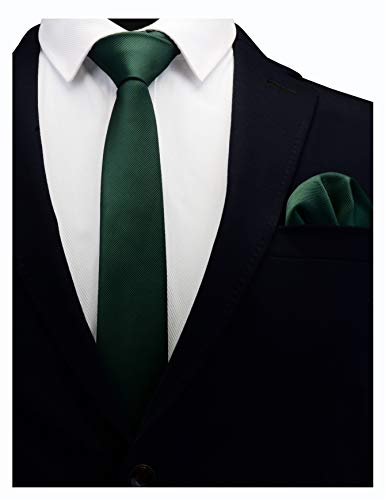 - GUSLESON Solid Dark Green Emerald Skinny Tie For Men Classic Slim Necktie and Pocket Square Set (0754-08)