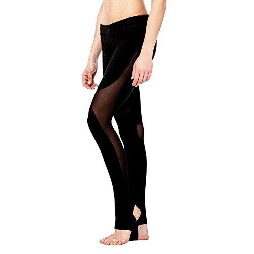 Yiitay Donna Pantaloni Sportivi Fitness Allenarsi Hollow Stretch Yoga Filato Netto Gilet Leggings Asciugatura Rapida Trousers