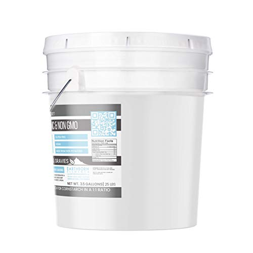 Potato Starch (3.5 gallon (25 lbs.)) by Earthborn Elements, Resealable bucket, Gluten-Free, NON-GMO, All-Natural, Thickener For Sauces, Soup, & Gravy, No Added Preservatives Or Artificial Ingredients by Earthborn Elements (Image #1)