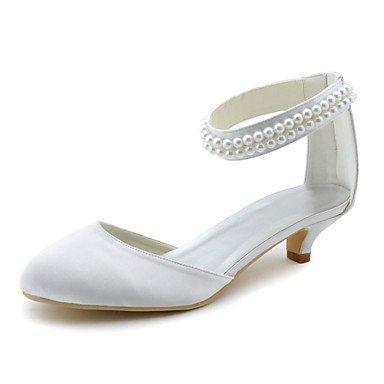 RTRY Las Mujeres'S Wedding Shoes Bomba Básica De Satén Stretch Primavera Otoño Parte &Amp; Vestido De Noche Tacón Gatito Blanco Perla 1A-1 3/4En Blanco Us6 / Ue36 / Uk4 / Cn36 US10.5 / EU42 / UK8.5 / CN43