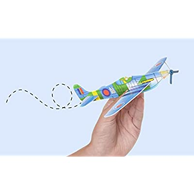 12 Pack 8 Inch Glider Planes - Birthday Party Favor Plane, Great Prize, Handout / Giveaway Glider, Flying Models, One Dozen: Toys & Games