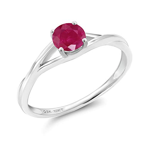 Gem Stone King 0.55 Ct Round Red Ruby 10K White Gold Solitaire Engagement Ring (Size ()