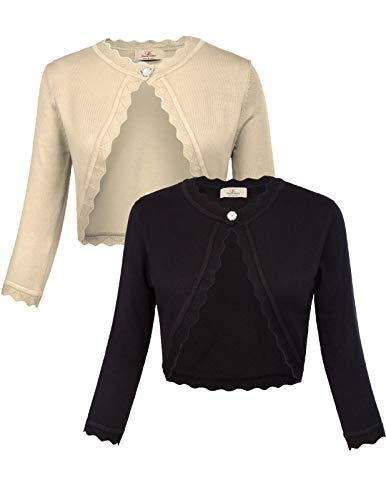 - 2 Pack Women Cropped Cardigan Bolero Jacket for Sleeveless Dress Black & Apricot