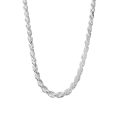 Sterling Silver Rope Chain Necklace - Italian Made - 5.0mm - 26 inch (5mm Sterling Silver Rope)