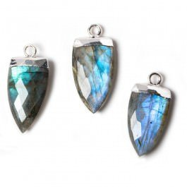 20x10mm Silver Leafed Labradorite faceted Point Pendant 1 (Faceted Labradorite Pendant)