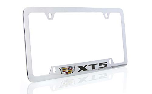 Chrome Plate Finish - Cadillac XT5 Brass License Plate Frame with Chrome Finish (4 Hole)