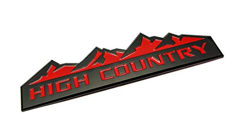 3x NEW HIGH COUNTRY Emblem,high contry Replacement for Badges door tailgate 3D Nameplate for Silverado 1500 2500HD Sierra 3500HD Black Red