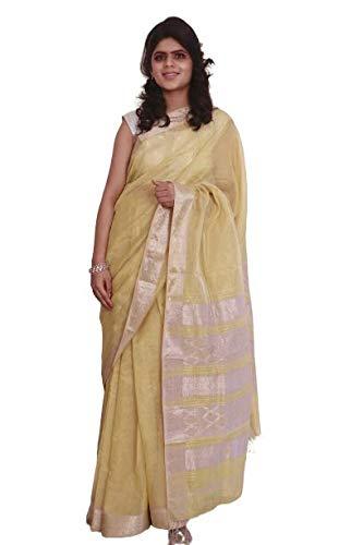 Rang Resha Authentic Maheshwari Hand Crafted Fresh Pastel Yellow oh so Soft Tissue Silk Saree with Rare Silver zari Heavy Pallu