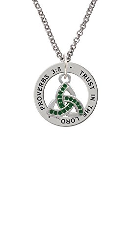 (Small 2-D Green Trinity Knot - Proverbs 3:5 Affirmation Ring Necklace)