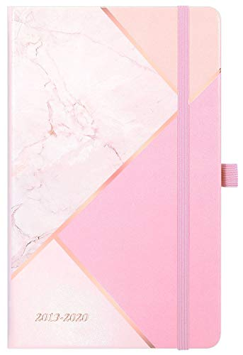 - Academic Planner 2019-2020 - Weekly & Monthly Planner with Tabs + Hardcover Leather with Pen Holder + Back Pocket + Thick Paper + Banded with Gift Box, Pink Marble Triangles - 5.25