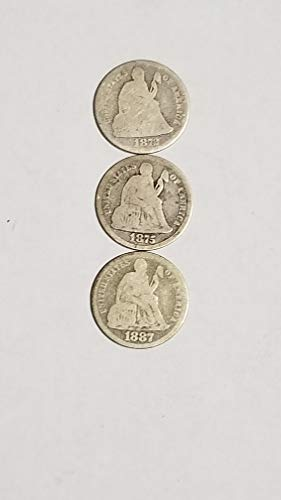 1872 1875 1887 SEATED LIBERTY SILVER DIMES-3 AFFORDABLE TYPE COINS-VERN'S CARD & COIN Half dollar - Ag Card
