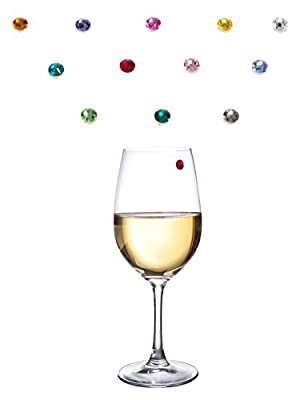 Bliss Home Elegant Multicolor Swarovski Crystal Magnetic Wine Glass Charms - Drink Markers for Wine, Champagne, Beer and Cocktail Glasses (Set of 12) - Box Included for Storage or Gifting