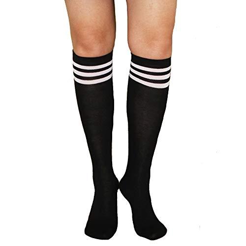 Unisex Striped Knee High Socks Rainbow Women Girls Over Calve Athletic Soccer Tube Cool Fun Party Cosplay Socks, Black+White Stripe, One Size 6-11