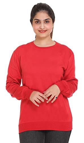 69GAL Women's Fleece Round Neck Sweatshirt (143W1_R38_Red_Small)