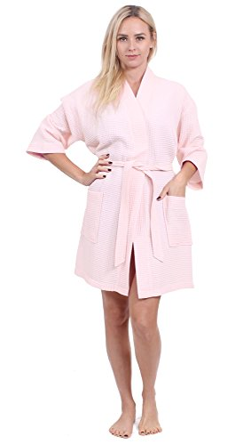 (Turkuoise Women's Turkish Cotton Knee Length Lightweight Bridesmaids Waffle Kimono Robe Peach)