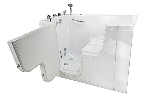Ella Wheelchair Transfer Acrylic Hydro Massage Walk-In Bathtub with Right Outward Swing Door, Thermostatic Faucet, 2
