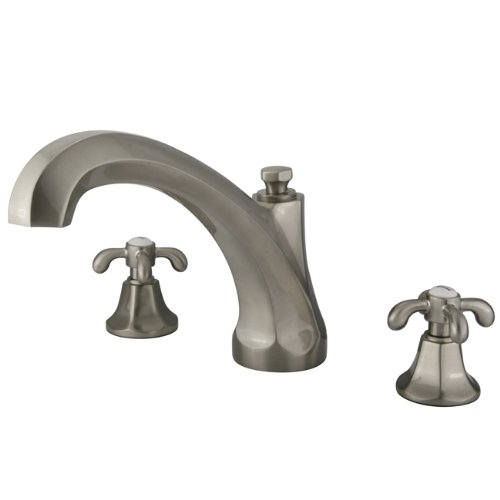Kingston Brass KS4328TX French Country Roman Tub Filler with Metal Cross Handle, Brushed Nickel