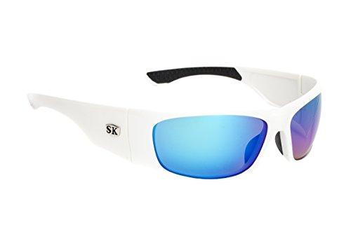 Strike King Plus Platte Polarized Sunglasses with White/Black Two-Tone Frames and Revo Blue Mirror - Strike Polarized King Sunglasses