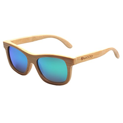 de Handcrafted lente Verde Gafas bambú Iwood Natural Marcos madera sol de polarizada Moda de wqcE4cdF
