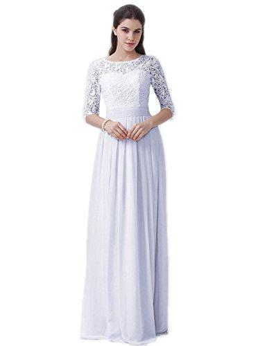 Belle House Women's White Prom Dresses Long 2018 Formal Evening Dresses Short Sleeve A Line Ball Gown