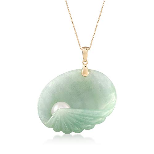 (Ross-Simons Green Jade Seashell and Cultured Pearl Pendant Necklace in 14kt Yellow Gold)