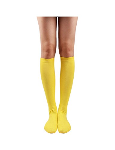 10STAR11 Women's Premium Comfortable Solid Sporty Knee High Socks YELLOW,O