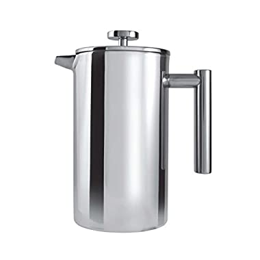 Grunwerg Cafe Ole Double Wall Insulated Straight 12 Cup/ 51oz Stainless Steel Cafetiere