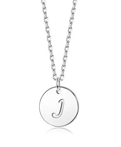 Sllaiss Initial Pendant Necklace Round Disc Engraved Letter Pendant 925 Sterling Silver Personalized Alphabet Pendant for Women Girls Teen (J)