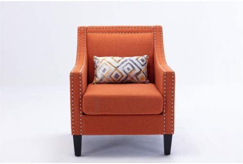 Accent Armchair Living Room Chair with Nailheads and Solid Wood Legs Orange Linen