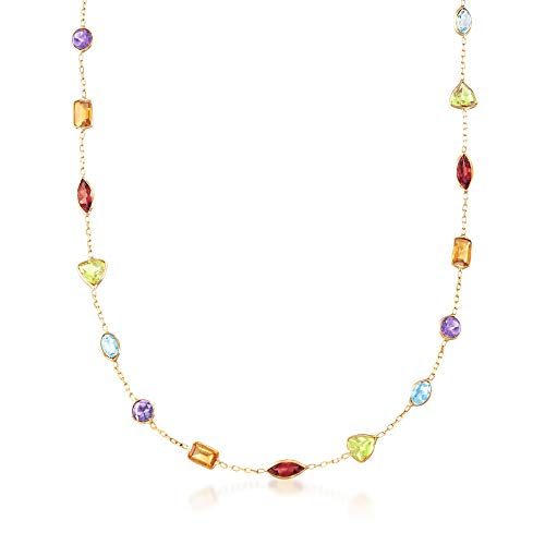 Ross-Simons Certified 10.80 ct. t.w. Multi-Gemstone Station Necklace in 14kt Yellow Gold