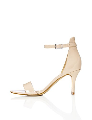 FIND Women's Ankle Strap Sandals Leather Stiletto Heel Beige (Nude) hmgWdP