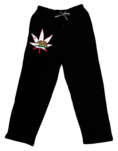 TooLoud California Bear Leaf Design Adult Lounge Pants - Black- Medium (Weed Pajama Pants)