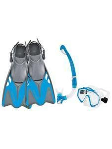 Body Glove Women's EXO Mask and Snorkel Fins Combo Set, Aqua, X-Large/XX-Large