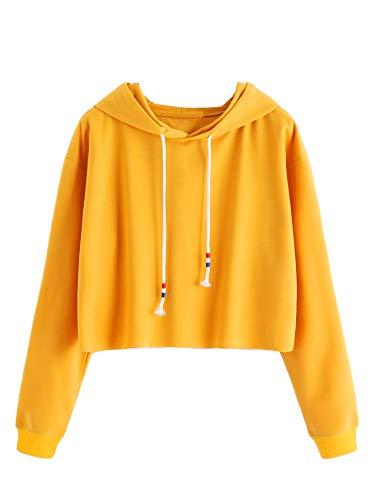 MAKEMECHIC Women's Long Sleeve Pullover Sweatshirt Crop Top Hoodies Yellow XL