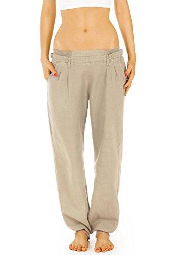 Bestyledberlin Damen Hosen, Leinenhosen, lässige Stoffhosen j70kw Gr.42/XL Damen Hosen Beige