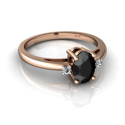 14kt Gold Black Onyx and Diamond 7x5mm Oval Simply Elegant Ring