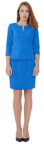 - Marycrafts Women's Elegant Skirt Suit Set Work Office Business Wear 6 Blue
