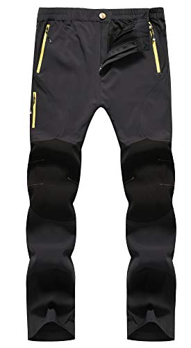 KAISIKE Men's Outdoor Waterproof Hiking Pants Fleece Insulated Ski Pants(05-Fleece-Grey-M)