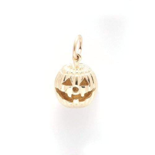 Jack O Lantern Charm In 14k Yellow Gold, Charms for Bracelets and Necklaces ()