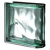 Quality Glass Block 7.5 x 7.5 x 3 Pegasus Metalized Green Wave End Block Glass Block