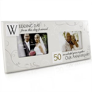 Modern 50th Wedding Anniversary Then And Now Photo Frame Amazonco