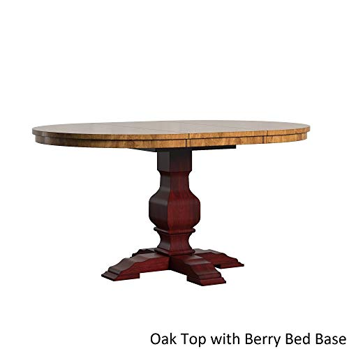 Inspire Q Eleanor Two-Tone Oval Solid Wood Top Extending Dining Table by Classic Red Antique, Oak Finish, Distressed, Red Finish