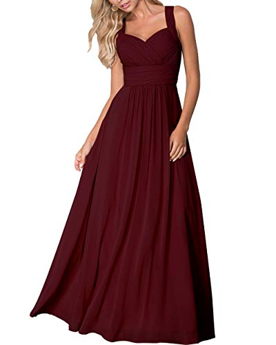 Roiii Women's Elegant Formal Bridesmaid Evening Gown Sleeveless Ruched Party Cocktail Maxi Long Dress (XX-Large, Wine Red 9655)